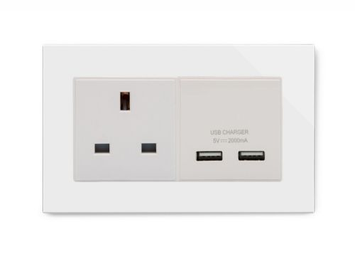RetroTouch 13A 1G UK Socket & 2.1A Dual USB White Glass PG 00642